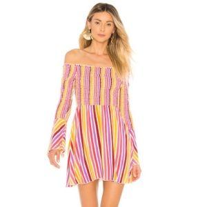 Tularosa Smocked Amanda Mini Dress Striped Summer
